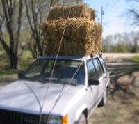 Straw Bales on a car